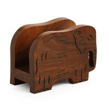 Load image into Gallery viewer, 'Elephants' Trunk Down' Hand Carved Napkin Holder In Sheesham Wood