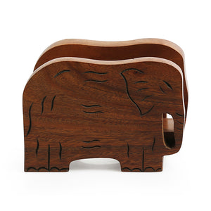'Elephants' Trunk Down' Hand Carved Napkin Holder In Sheesham Wood