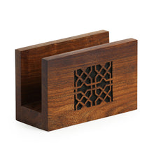 Load image into Gallery viewer, 'Mughal Jaali' Hand Carved Napkin Holder In Sheesham Wood