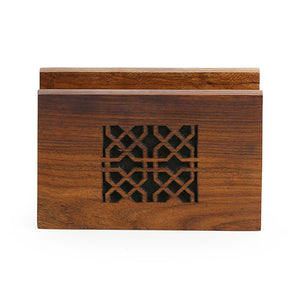 'Mughal Jaali' Hand Carved Napkin Holder In Sheesham Wood