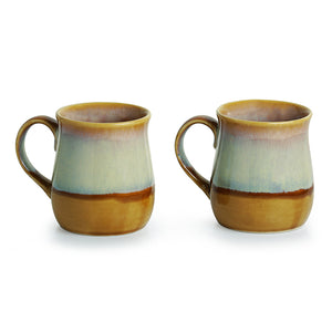 Tea-Coffee & Milk Mugs Dual-Glazed Studio Pottery In Ceramic (Set Of 2)