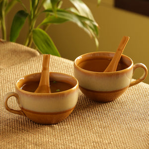 Soup Bowls With Spoons Dual Glazed Studio Pottery In Ceramic (Set Of 2)