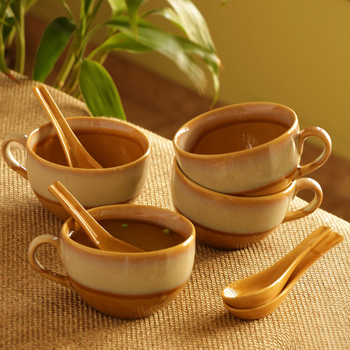 Soup Bowls With Spoons Dual Glazed Studio Pottery In Ceramic (Set Of 4)