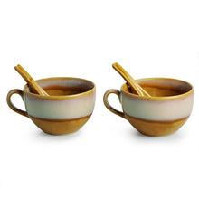 Load image into Gallery viewer, Soup Bowls With Spoons Dual Glazed Studio Pottery In Ceramic (Set Of 2)