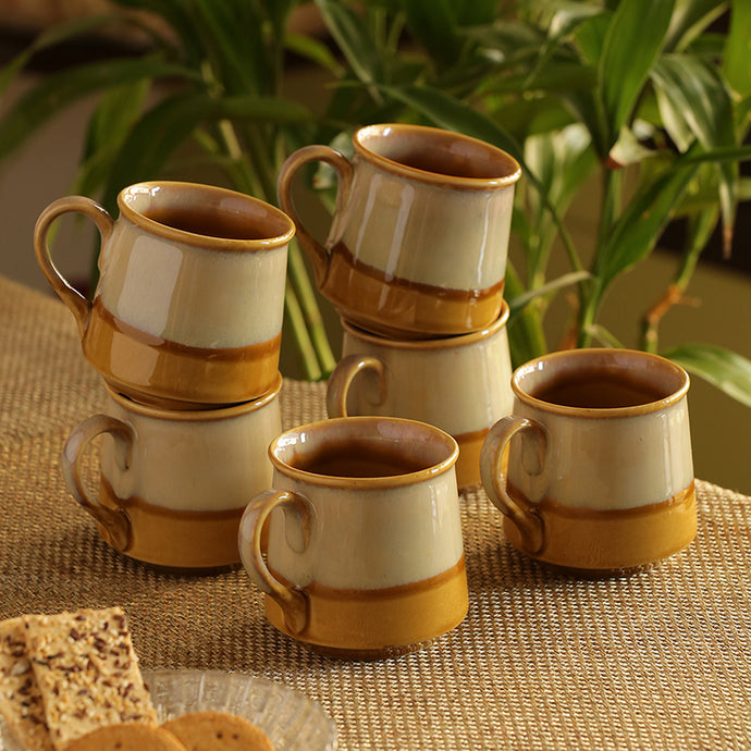 Tea & Coffee Cups Dual-Glazed Studio Pottery In Ceramic (Set Of 6