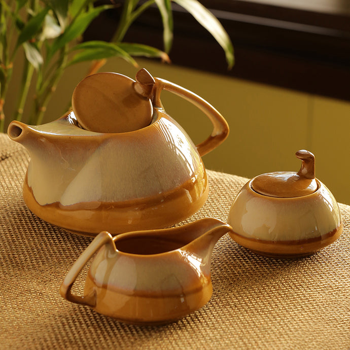 Tea Pot Kettle Set Dual Glazed Studio Pottery In Ceramic (Set Of 3)