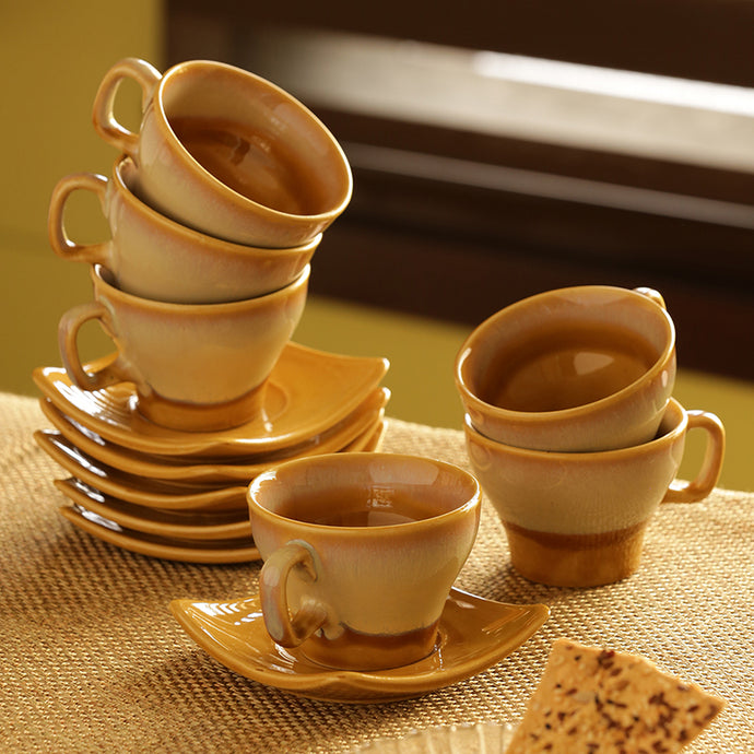 Tea Cups & Saucers Set Dual Glazed Studio Pottery In Ceramic (Set Of 6)