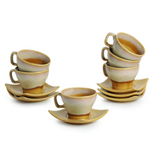 Load image into Gallery viewer, Tea Cups & Saucers Set Dual Glazed Studio Pottery In Ceramic (Set Of 6)