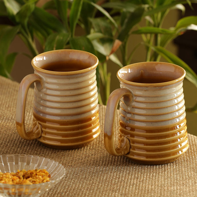 Beer & Milk Mugs Dual Glazed Studio Pottery In Ceramic (Set Of 2)