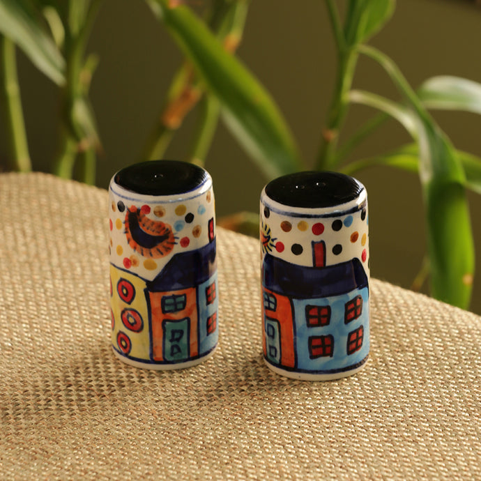 Hut Handpainted Salt & Pepper Shaker Set In Ceramic