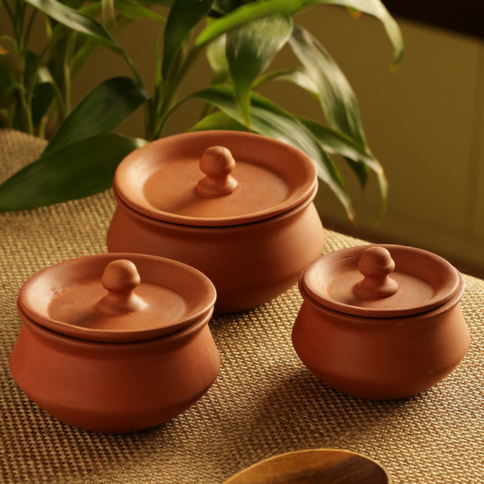 Handmade Earthen Clay Handis With Lids (Set Of 3)