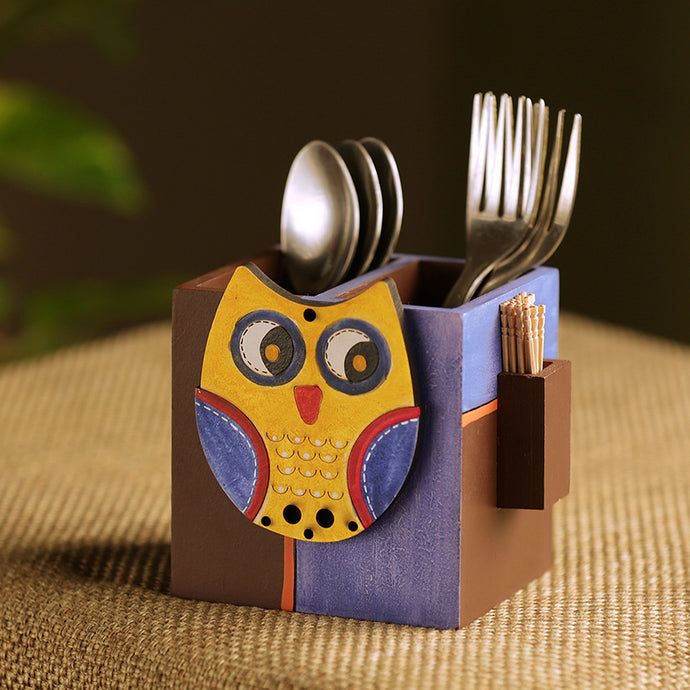 'Owl Motif' Cutlery & Toothpick Holder In Wood (3 Partitions)