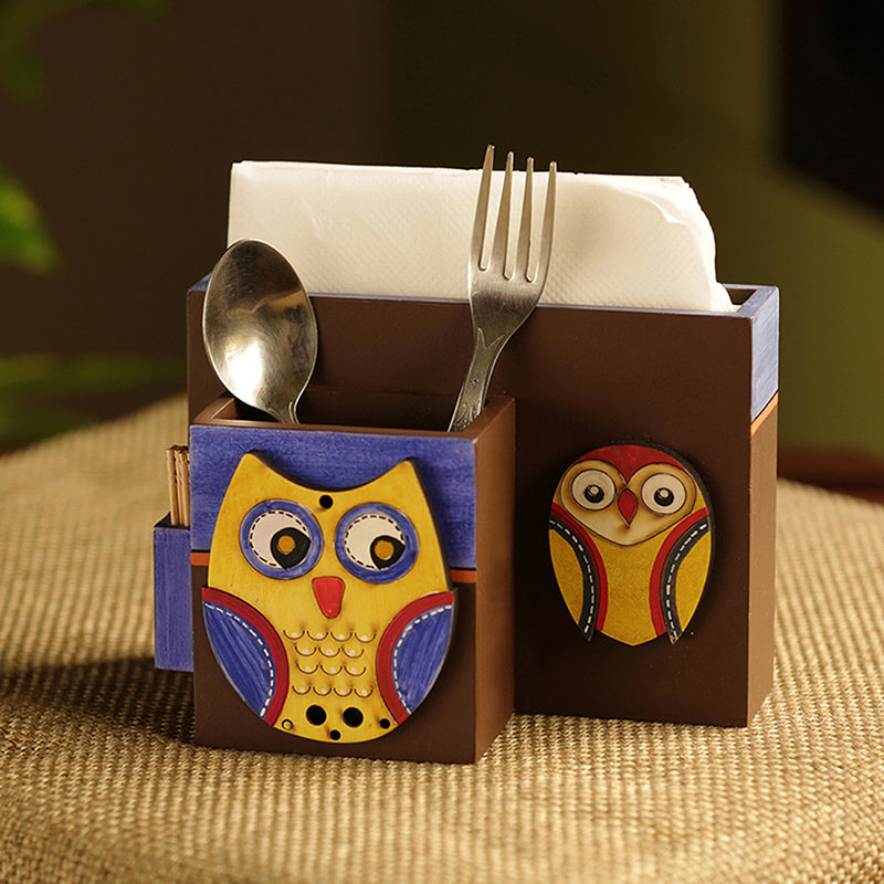 'Twin Owl Motifs' Cutlery Napkin & Toothpick Holder In Wood (3 Partitions)