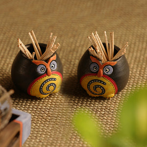 Small 'Twin Owl Pot-Faces' Toothpick Holder In Terracotta (Set Of 2)
