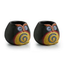 Load image into Gallery viewer, Small 'Twin Owl Pot-Faces' Toothpick Holder In Terracotta (Set Of 2)