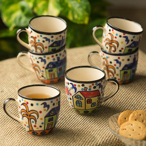 'The Hut Morning Companions' Hand-Painted Ceramic Tea & Coffee Cups (Set Of 6)