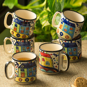 'The Hut Coffee Hangouts' hand-Painted Ceramic Tea & Coffee Mugs (Set Of 6)