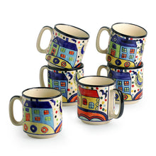 Load image into Gallery viewer, 'The Hut Coffee Hangouts' hand-Painted Ceramic Tea & Coffee Mugs (Set Of 6)