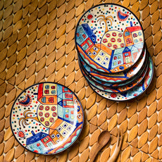 'The Hut Family' Hand-Painted Ceramic Quarter Plates (7 Inch, Set Of 6)