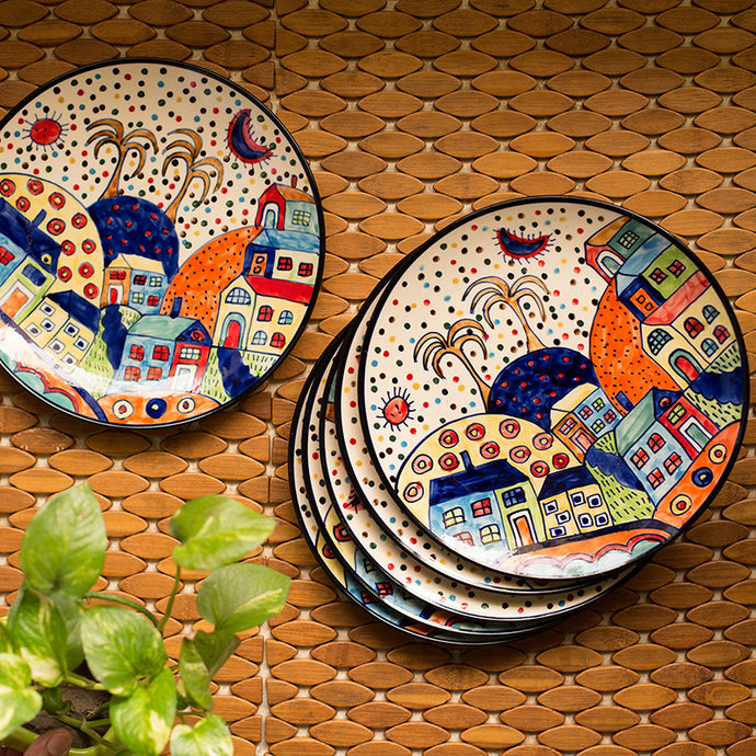 'The Hut Family' Hand-Painted Ceramic Dinner Plates (10 Inch, Set Of 6)