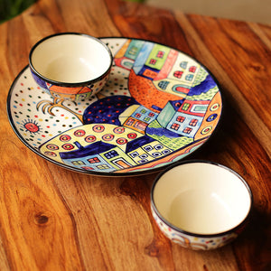 'The Hut Platter Pack' Hand-Painted Ceramic Plate With Serving Bowls Set