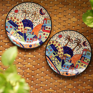 'The Hut Couple' Hand-Painted Ceramic Dinner Plates (10 Inch, Set Of 2)