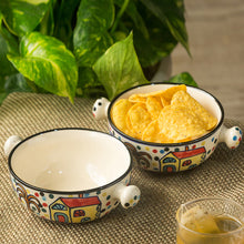 Load image into Gallery viewer, 'The Hut Handled Bowls'' Hand-Painted Ceramic Bowls (Set Of 2)