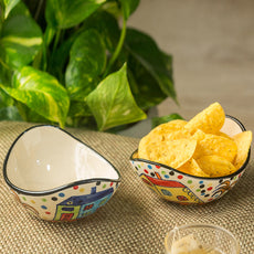 'The Hut Curved Serving' Hand-Painted Ceramic Bowls (Set Of 2)