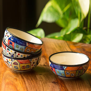 'The Serving Hut Goblets'  Hand-Painted Serving Bowls In Ceramic (Set Of 4)