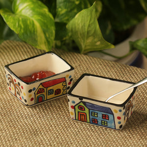 'Two Dips Of Hut' Hand-Painted Ceramic Chutney & Pickle Bowls (Set Of 2)
