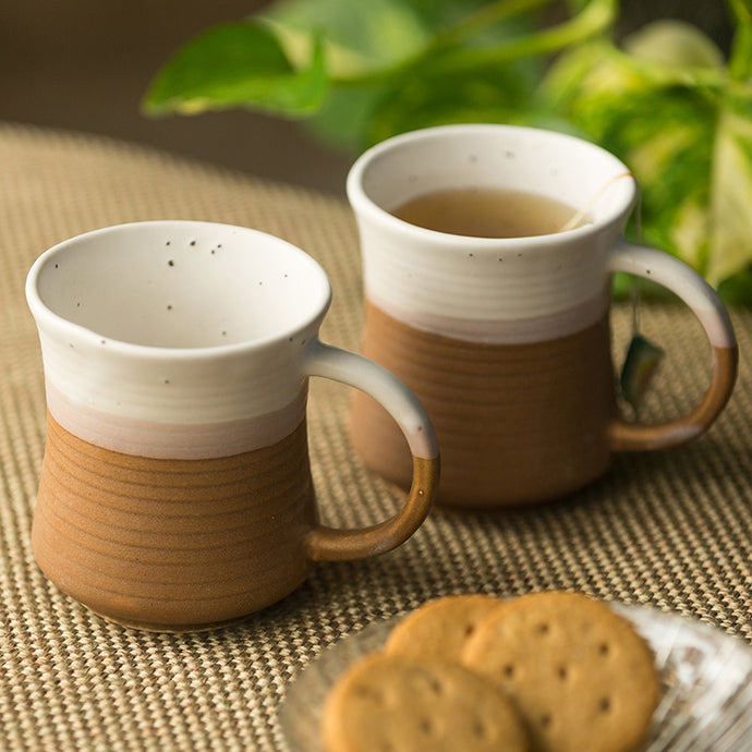 'Vanilla Rims' Studio Pottery Tea & Coffee Mugs In Ceramic (Set Of 2)