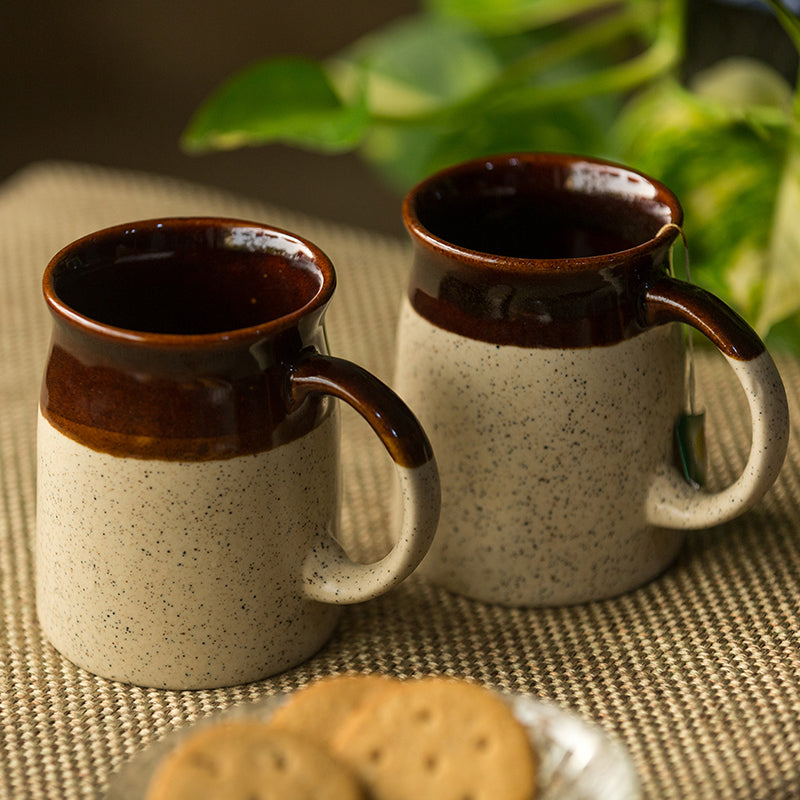 'Cocoa Rims' Studio Pottery Tea & Coffee Mugs In Ceramic (Set Of 2)