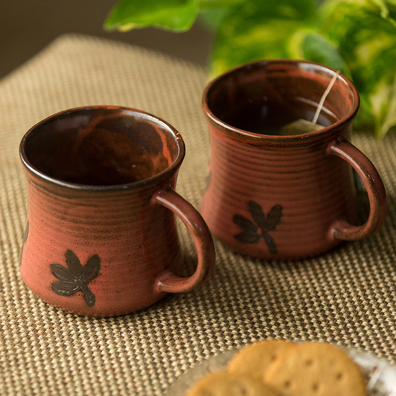 'Leaves Imprinted' Studio Pottery Tea & Coffee Mugs In Ceramic (Set Of 2)