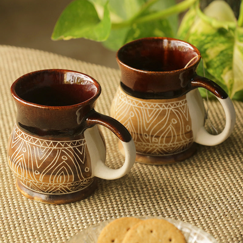 'Cocoa & Fire Carvings' Studio Pottery Tea & Coffee Mugs In Ceramic (Set Of 2)
