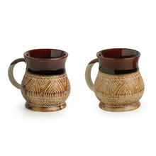 Load image into Gallery viewer, 'Cocoa & Fire Carvings' Studio Pottery Tea & Coffee Mugs In Ceramic (Set Of 2)