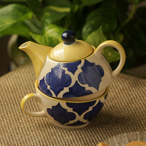 'The Kette-Cup' Moroccan Handpainted Tea Set In Ceramic