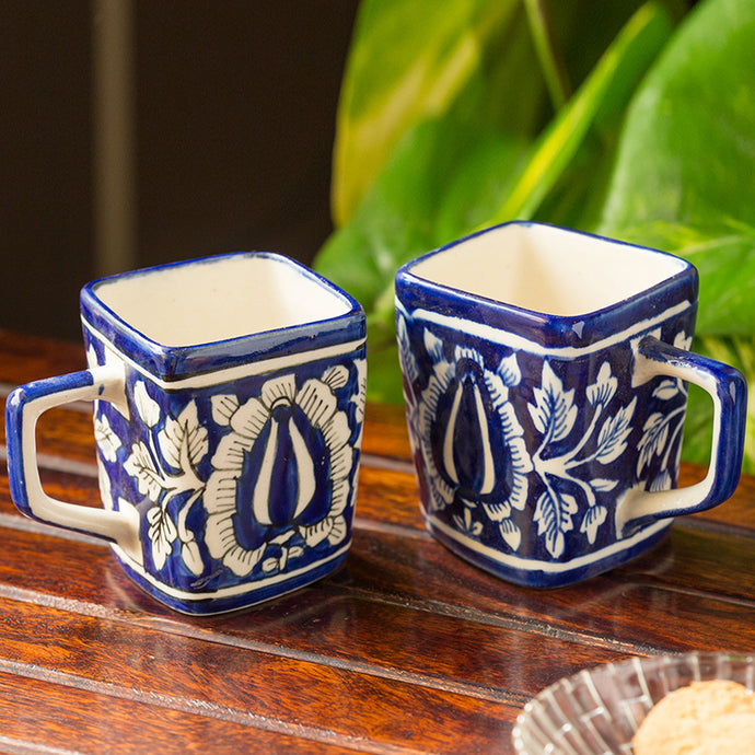 The 'Royal Goblets' Mughal Hand-Painted Ink Blue Ceramic Tea & Coffee Mugs (Set Of 2)
