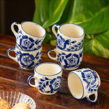 Load image into Gallery viewer, The 'Blooming Cuppas' Mughal Hand-Painted Ink Blue Ceramic Tea & Coffee Cups (Set Of 6)