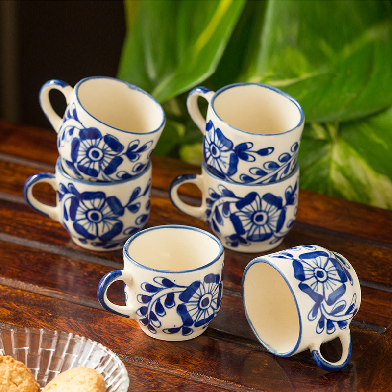 The 'Blooming Cuppas' Mughal Hand-Painted Ink Blue Ceramic Tea & Coffee Cups (Set Of 6)