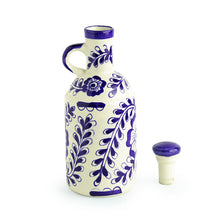 Load image into Gallery viewer, The 'Flowy Flora' Mughal Hand-Painted Ink Blue Decorative Ceramic Oil Bottle (1000 ML)