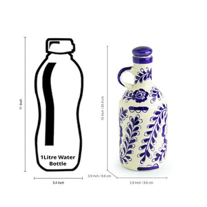 The 'Flowy Flora' Mughal Hand-Painted Ink Blue Decorative Ceramic Oil Bottle (1000 ML)