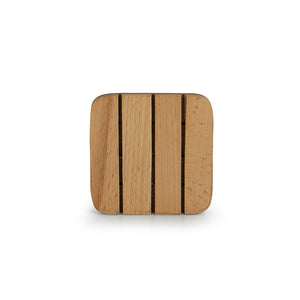 'Cornered Squares' Handcrafted Wooden Coasters With Stand (Set Of 4)