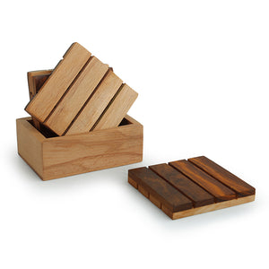 'Squares of Wood' Handcrafted Wooden Coasters With Stand (Set Of 4)