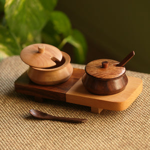 'Wood Fusions' Handcrafted Wooden Refreshment Jars And Tray