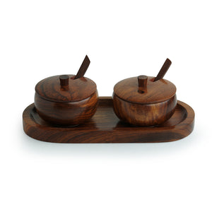 'Wood Pot Belly' Handcrafted Wooden Refreshment Jars And Tray