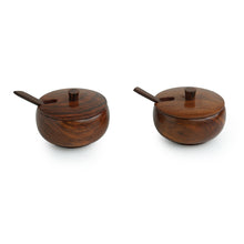 Load image into Gallery viewer, 'Wood Pot Belly' Handcrafted Wooden Refreshment Jars And Tray