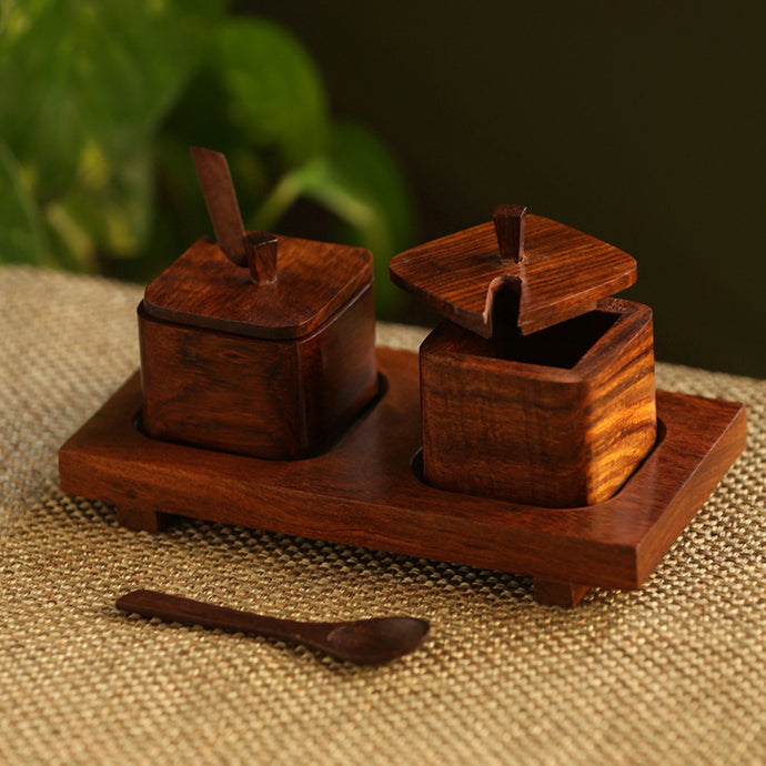 'Wood  Serving Squares' Handcrafted Wooden Refreshment Jars With Spoon And Tray