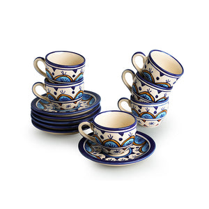 'Floral-Semi Curves' Hand-Painted Cups & Saucers In Ceramic (Set Of 6)