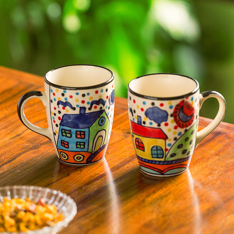 'The Hut Jumbo Cuppas' Hand-Painted Mugs In Ceramic (Set Of 2)