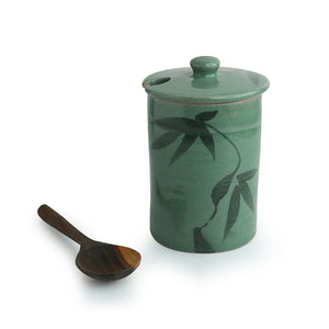 'Tropical Delicacy' Studio Pottery Ceramic Pickle & Jam Jar With Spoon
